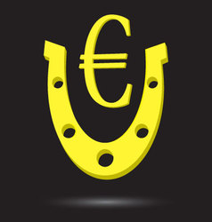 Golden horseshoe with symbol gold euro vector