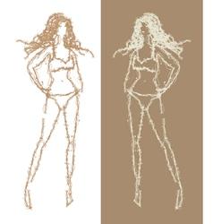 sketch of girl vector image