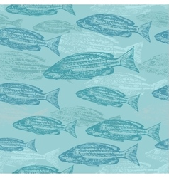 Seamless pattern with sketches of fish on vector