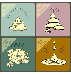 Set icons and words spa massage vector