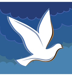 Soaring dove in the blue sky logo vector