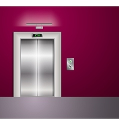 Open and closed modern metal elevator doors hall vector