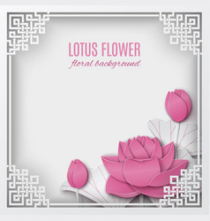 abstract chinese frame with lotus flowers vector image