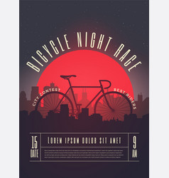 bicycle race contest poster vector image vector image