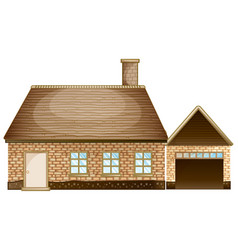Brick house with garage vector