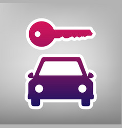 Car key simplistic sign purple gradient vector