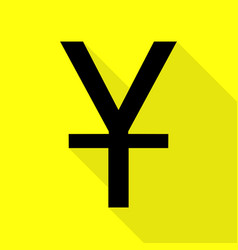 Chinese yuan sign black icon with flat style vector