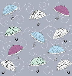 Colorful umbrellas polka dot vector image