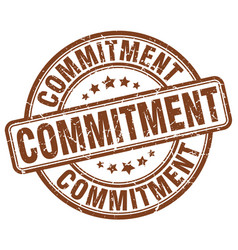 Commitment brown grunge stamp vector