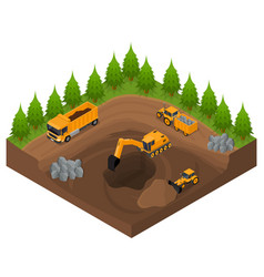 Construction quarry with excavators and equipment vector