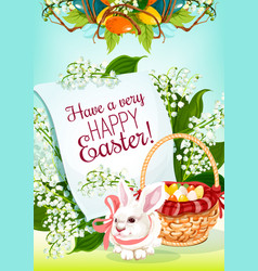 Easter egg hunt rabbit greeting card design vector