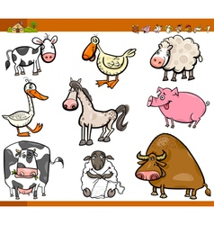 farm animals cartoon set vector image vector image