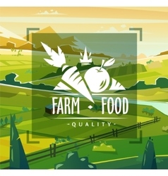 Farm food typography design on background vector image