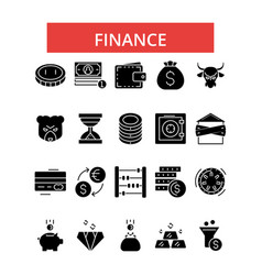 Finance thin line icons linear flat vector