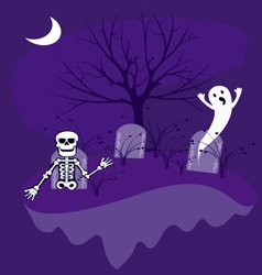 Graveyard with ghosts vector