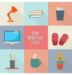 Home workplace icons set vector