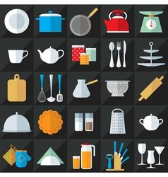Kitchenware flat icons set vector image vector image