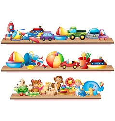 Many toys on wooden shelves vector