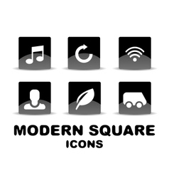 Modern glossy black square icon set vector image vector image