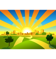 Morning city background vector