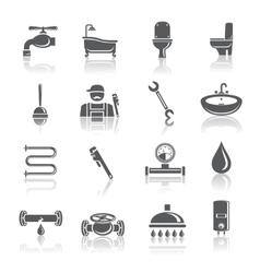 Plumbing tools pictograms set vector