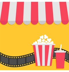 Popcorn and soda with straw film strip cinema icon vector