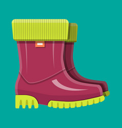 Rubber boots shoes for rain waterproof footwear vector