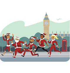 santa fun run vector image vector image