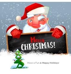 Santa with blackboard and fir tree vector