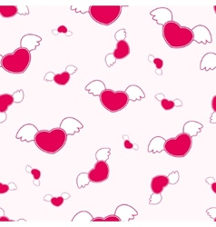 Seamless pattern with heart and wings vector image