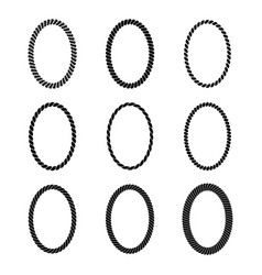 Set of monochrome black oval rope frame vector