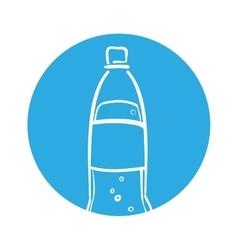 Silhouette soda bottle bubbles blue circle vector