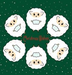 Six sheep vector