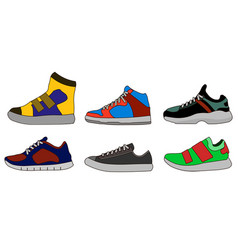 sneaker shoe color flat icon pictogram symbol vector image vector image