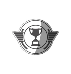 sticker with trophy cup monochrome vector image vector image