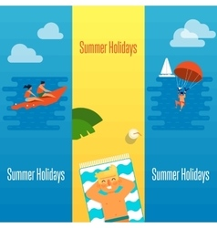 Summer Holidays Banner with Man Sunbathes vector image vector image