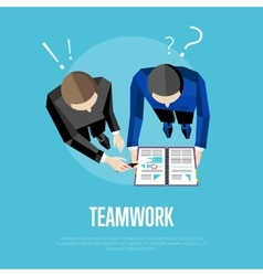 Teamwork banner top view group of people vector