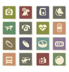 Veterinary clinic icon set vector