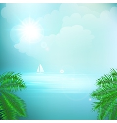 View of tropical sea between the palm trees under vector image
