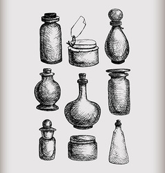 Vintage jars and bottles vector