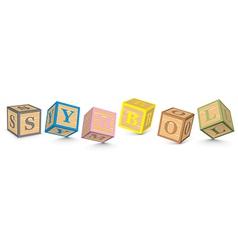 Word SYMBOL written with alphabet blocks vector image vector image