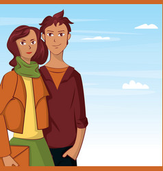 young couple cartoon over sky background vector image vector image