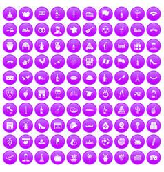 100 wine icons set purple vector