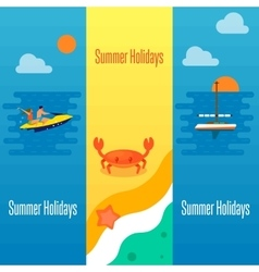 Summer holidays banner with sea crab vector