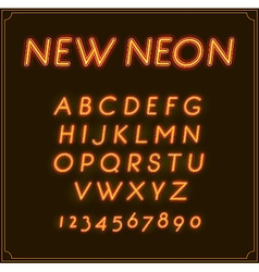 Neon italic font type alphabet glowing in with vector