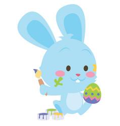 Easter rabbit painting egg art vector
