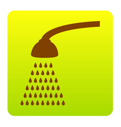 Shower simple sign  brown icon at green vector