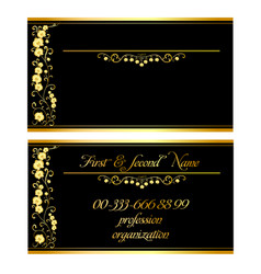 Two business cards with gold orchids vector