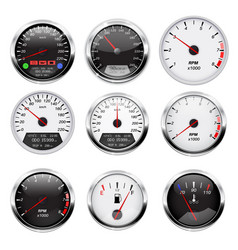 Car dashboard gauges set collection of vector