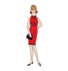 Stylish woman fashion dressed girl 1960s style vector